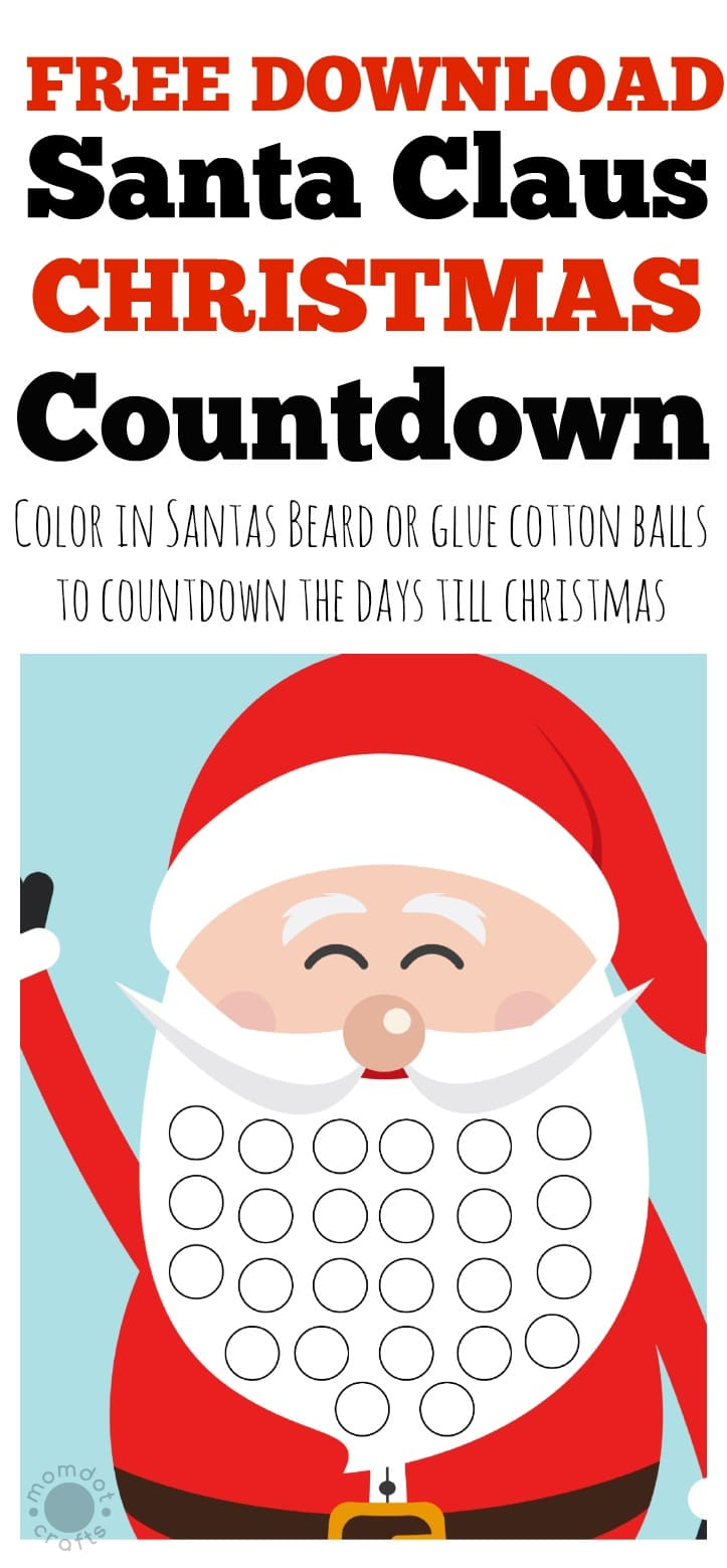 Free Christmas countdown calendar for kids, download FREE PRINTABLE and count down the days on Santas Beard