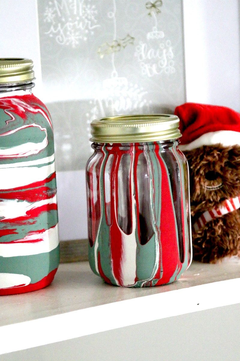 Drip Painting Mason Jars for Christmas Decorations, D