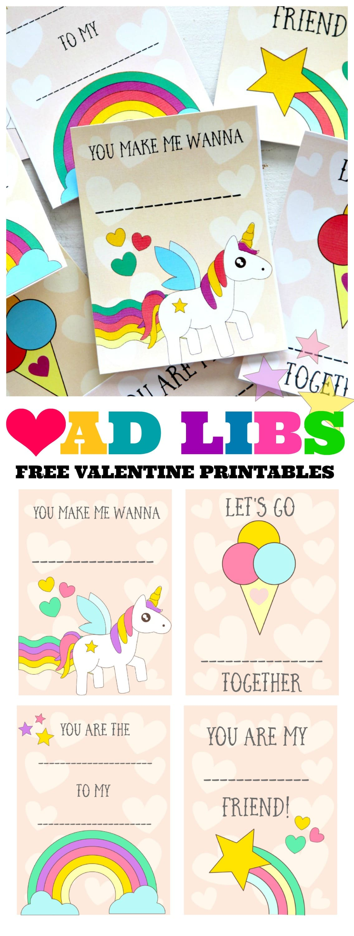 Free Valentines Day Printable Cards : Ad Lib your own Silly Saying , (comes in two colors!)