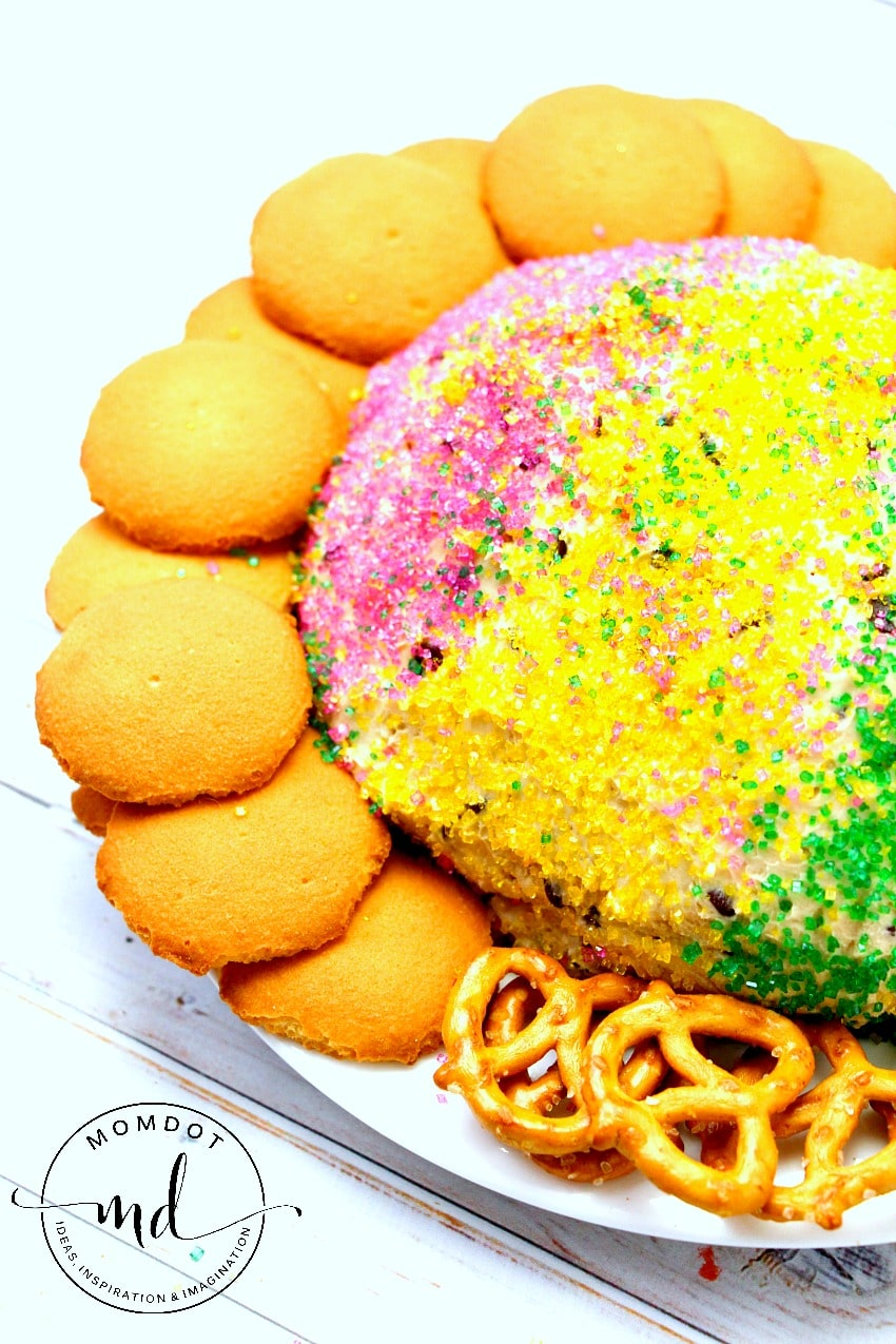 Mardi Gras Cookie Dough Ball: Bring in Mardi Gras with this colorful no egg cookie dough ball recipe