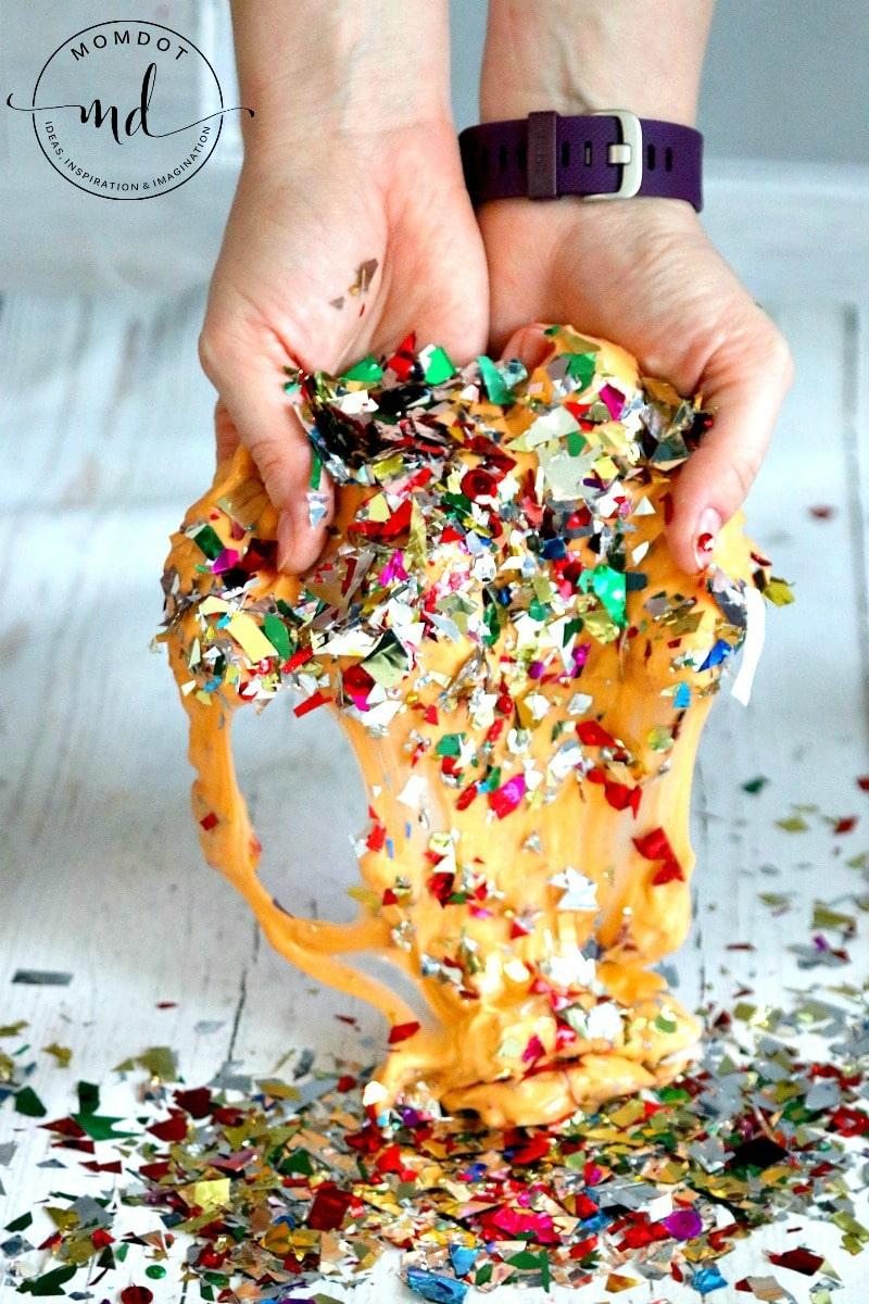 Confetti Slime, Homemade Slime recipe, sensory experiment perfect for birthday slime fun