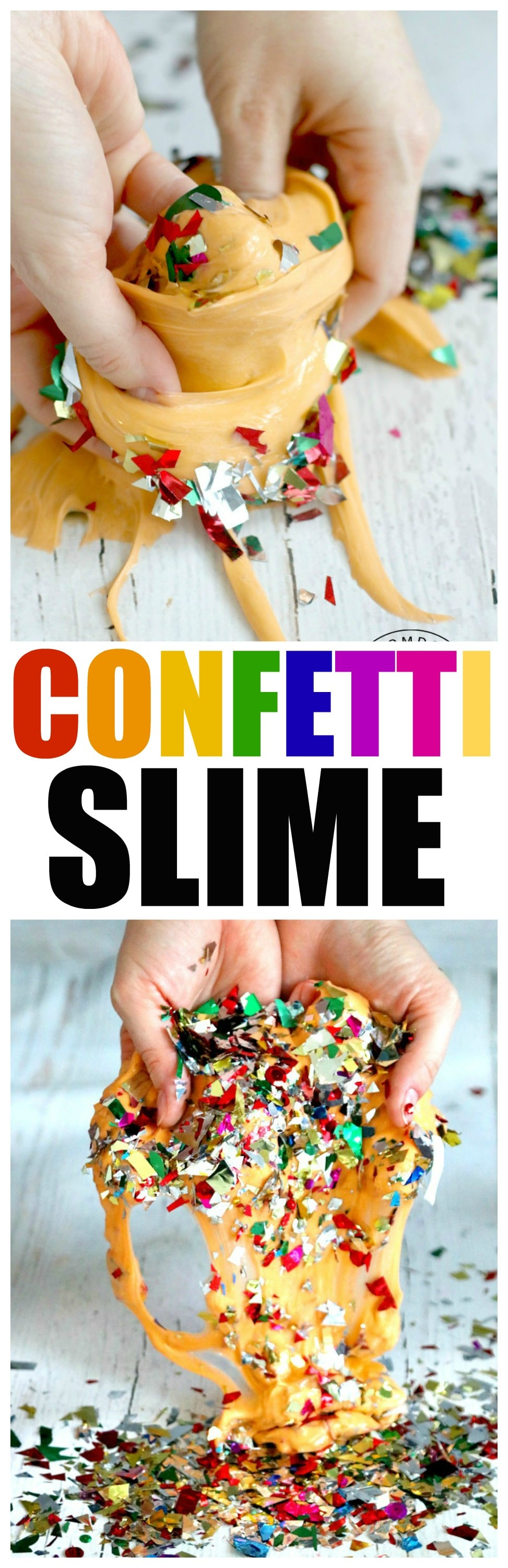 Confetti Slime, Homemade Slime recipe, sensory experiment perfect for birthday slime fun