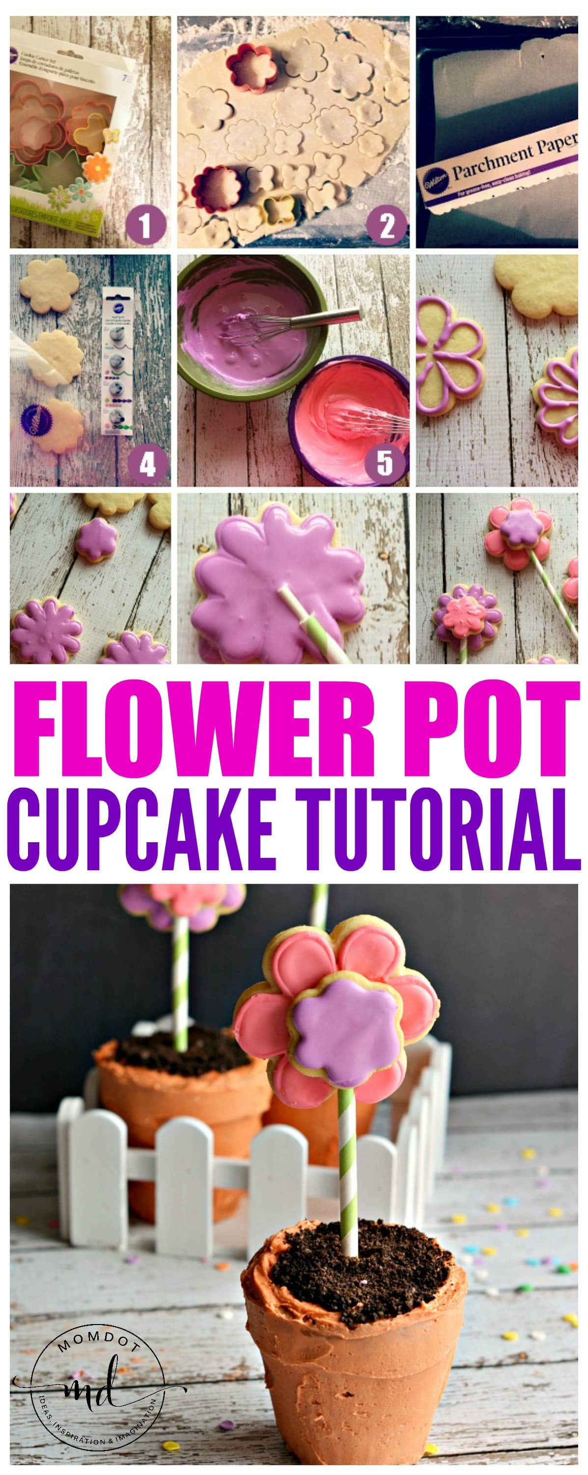 Flower Pot Cupcake Tutorial, Make standout cupcakes with this step by step flower cupcake tutorial, adorable