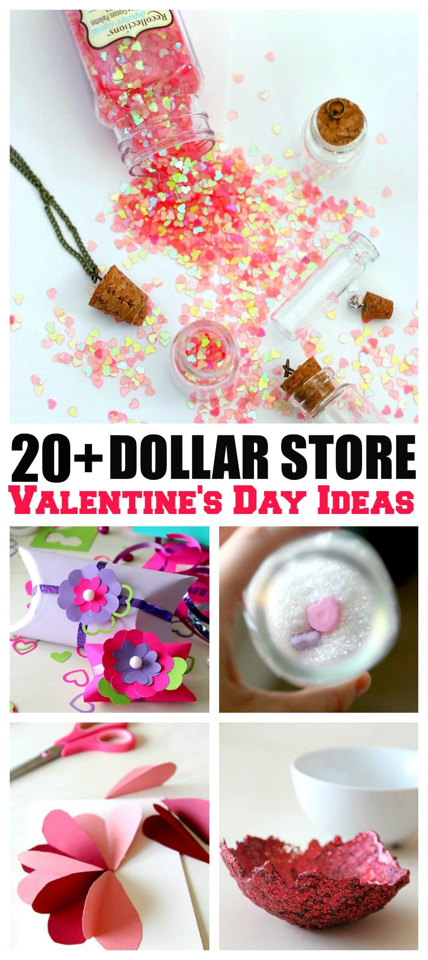 Dollar Store Valentines: Over 20 ways to inexpensively pass out Valentines, Gifts, or create home decor from dollar bins