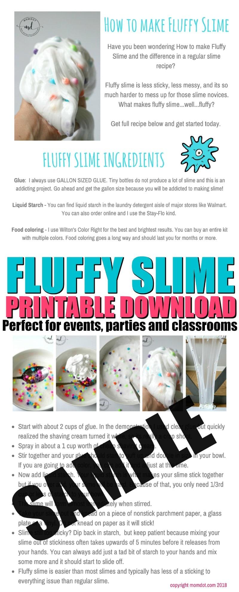 Fluffy Slime Free Printable