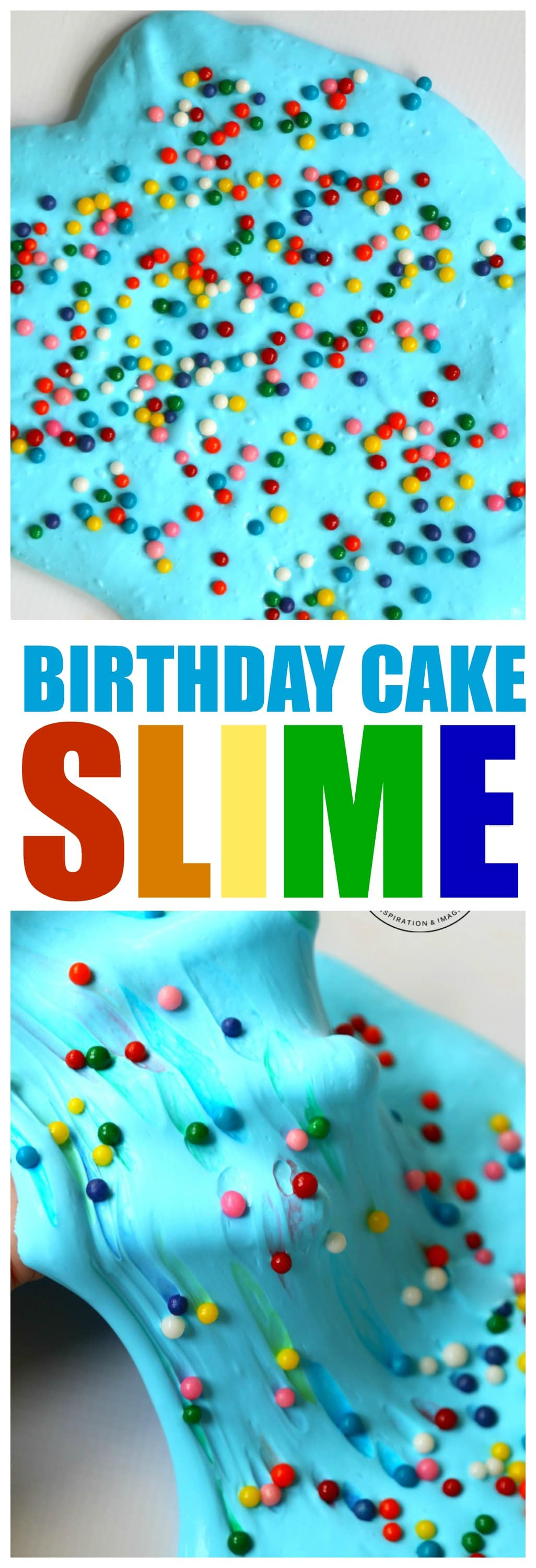Birthday Cake Slime: Use Sprinkles to create rainbows in your slime