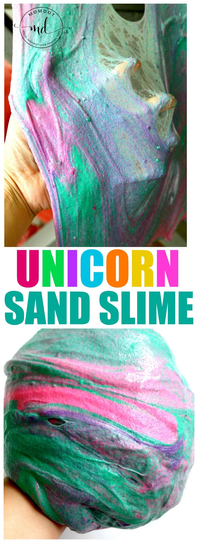 Unicorn Sand Slime Recipe : Make sand slime for a fun slime sensory experiance