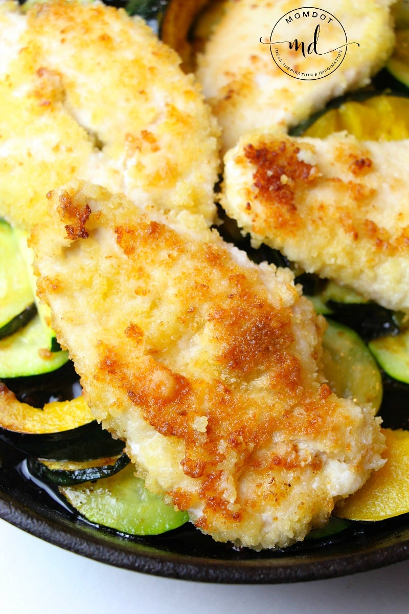Crispy Parmesan Chicken recipe, a delicious dinner that takes no time at all, family friendly