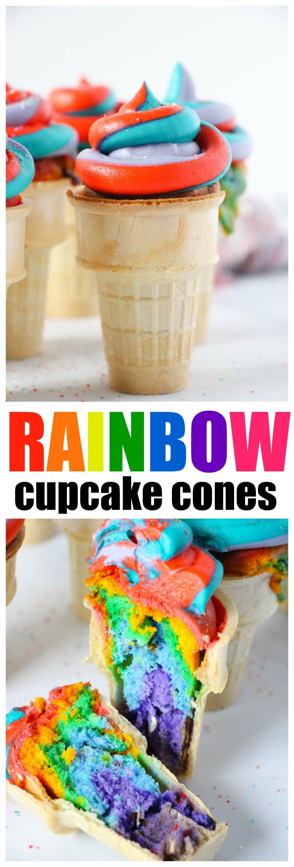 Rainbow Swirl Cupcake Cones with homemade Rainbow Swirl Frosting, see the inside, WOW!