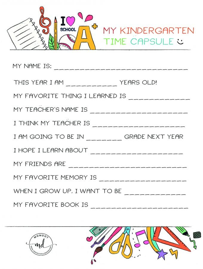 Kindergarten Time Capsule FREE PRINTABLE : End of School Printable and document in their words