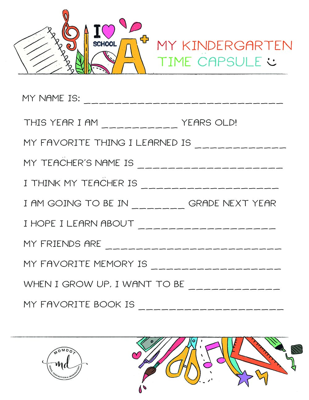 kindergarten time capsule free printable