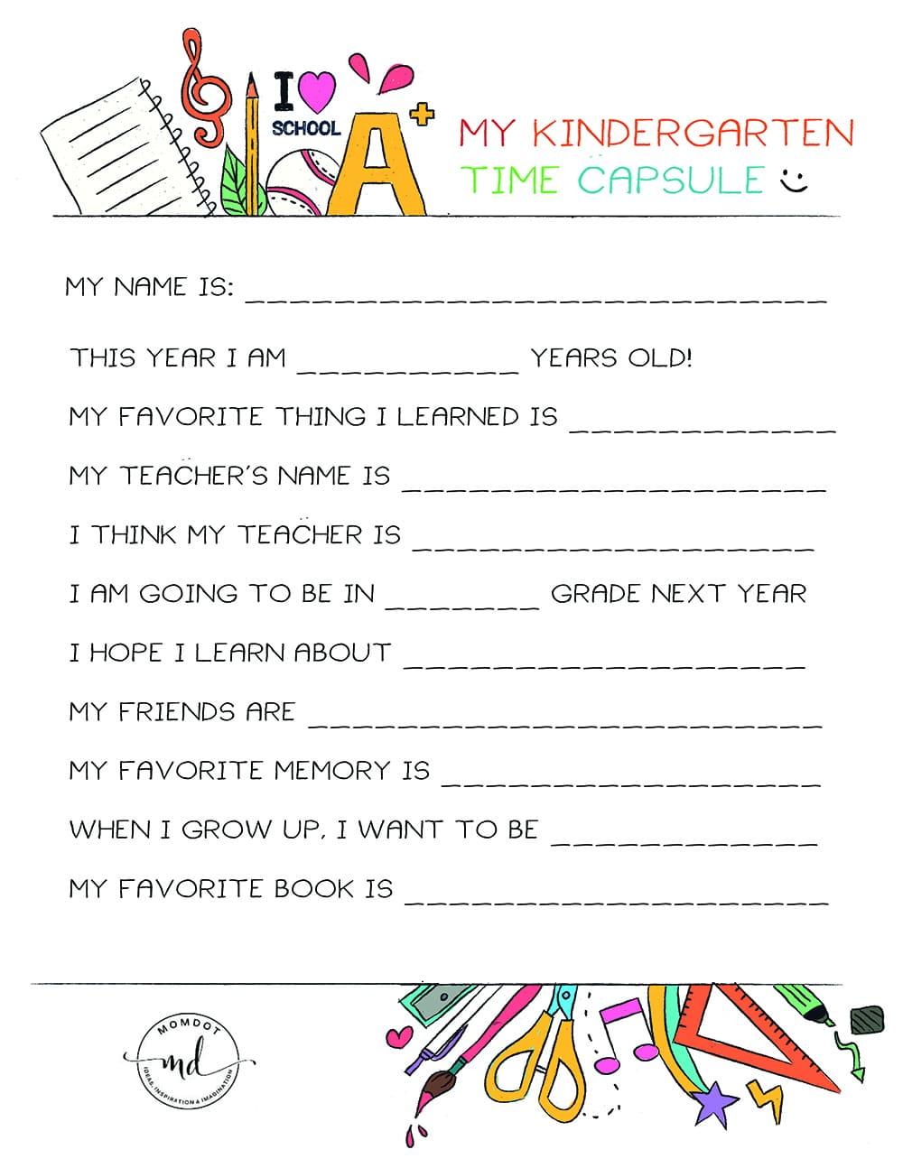 Kindergarten Time Capsule FREE PRINTABLE : End of School Printable and document in their words