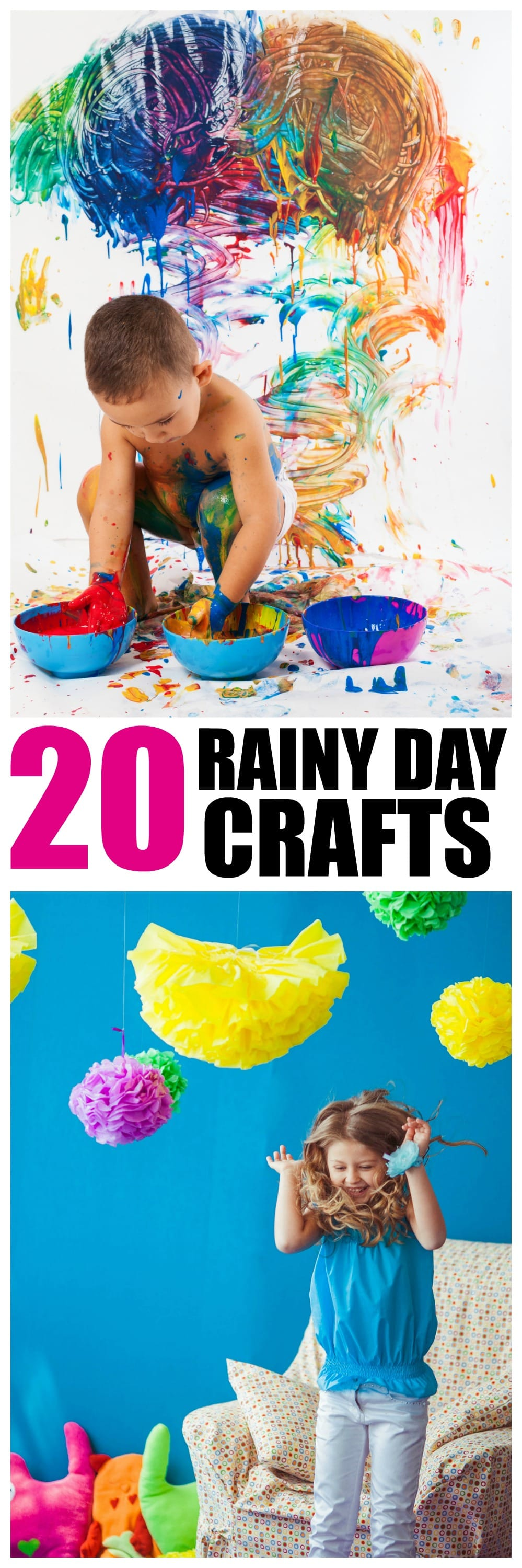 20 Rainy Day Crafts for Kids of all ages - find plenty of reasons to play when its thundering out