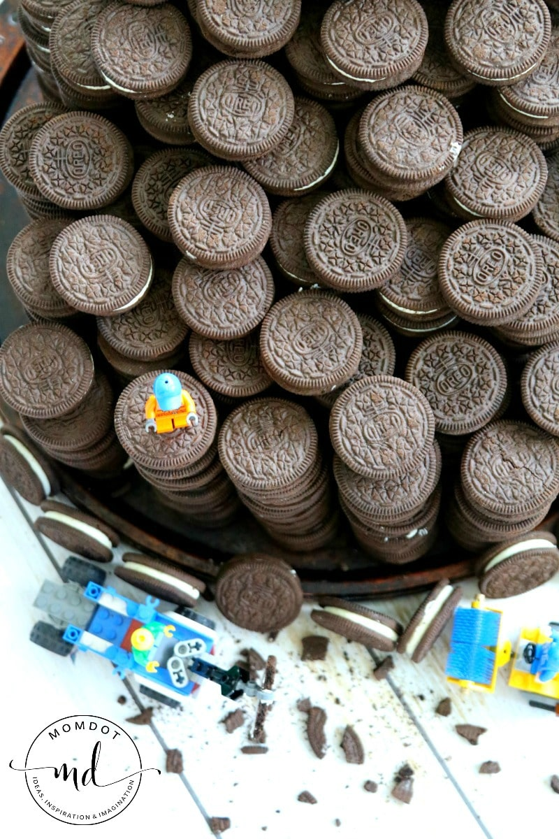 OREO Construction Zone: Birthday Party Idea , just add LEGOs for a fantastic OREO display