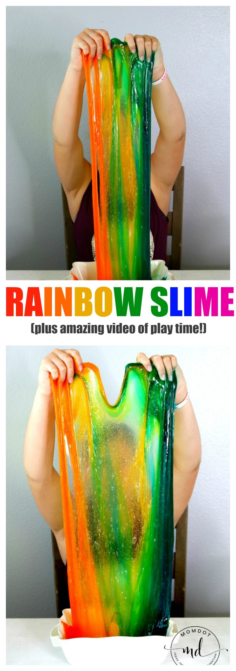 Rainbow Slime (with Clear Glue) That will Blow your Mind, Plus Video of it Sheeting! Gorgeous!
