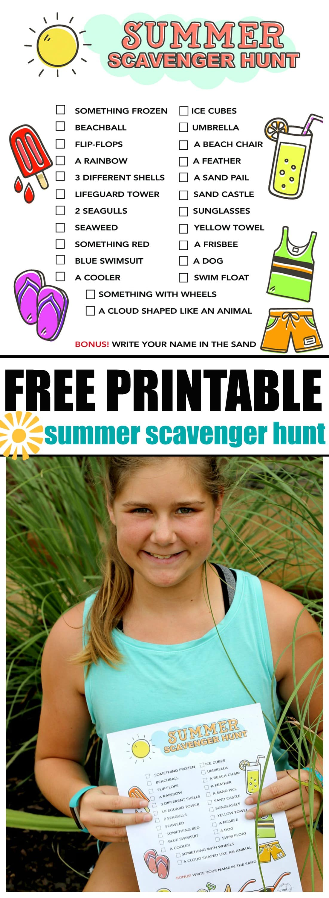Summer Scavenger Hunt FREE PRINTABLE For kids, Keep kids busy with this free downloadable printable