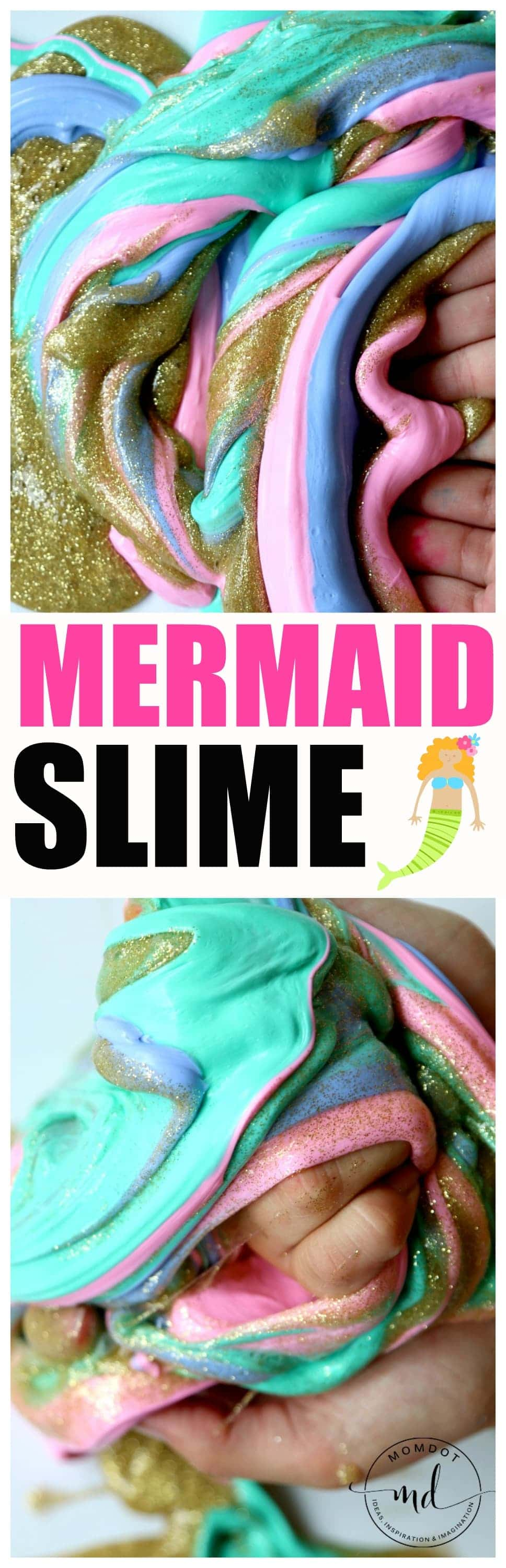 Mermaid Fluffy Slime Recipe, Make gorgeous glitter slime mixed with beautiful colors, like a mermaid!