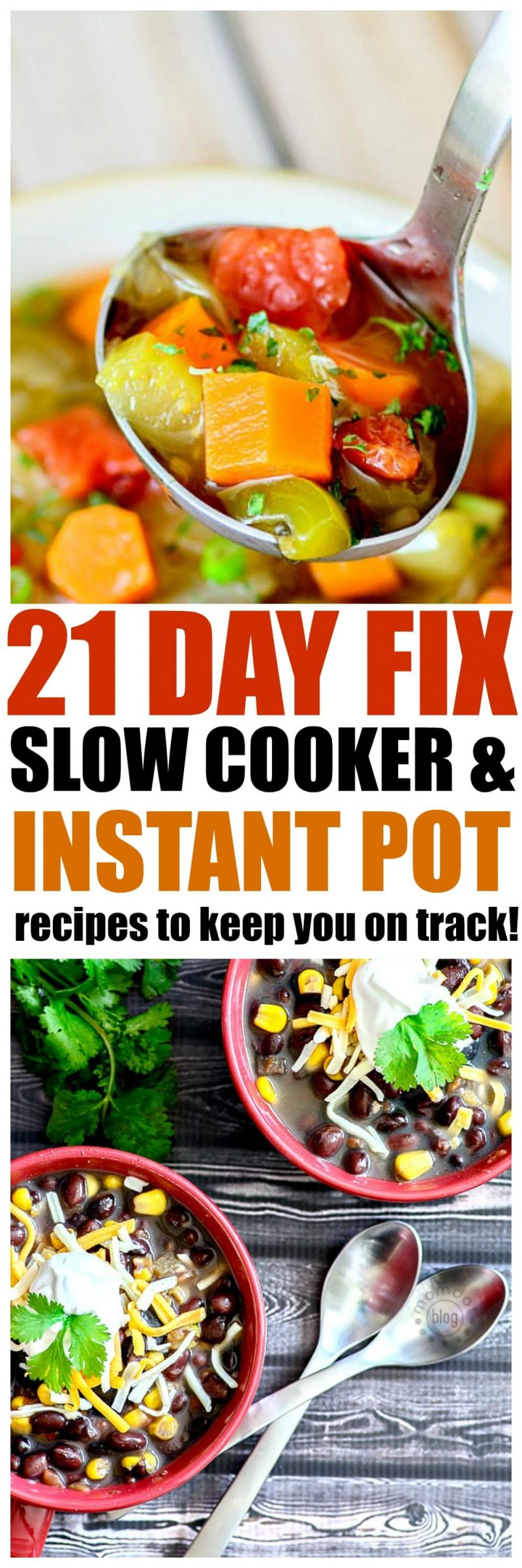 21 Slow Cooker and Instant Pot 21 Day Fix Recipes to keep you on track with your 21 day fix diet, delicious options!