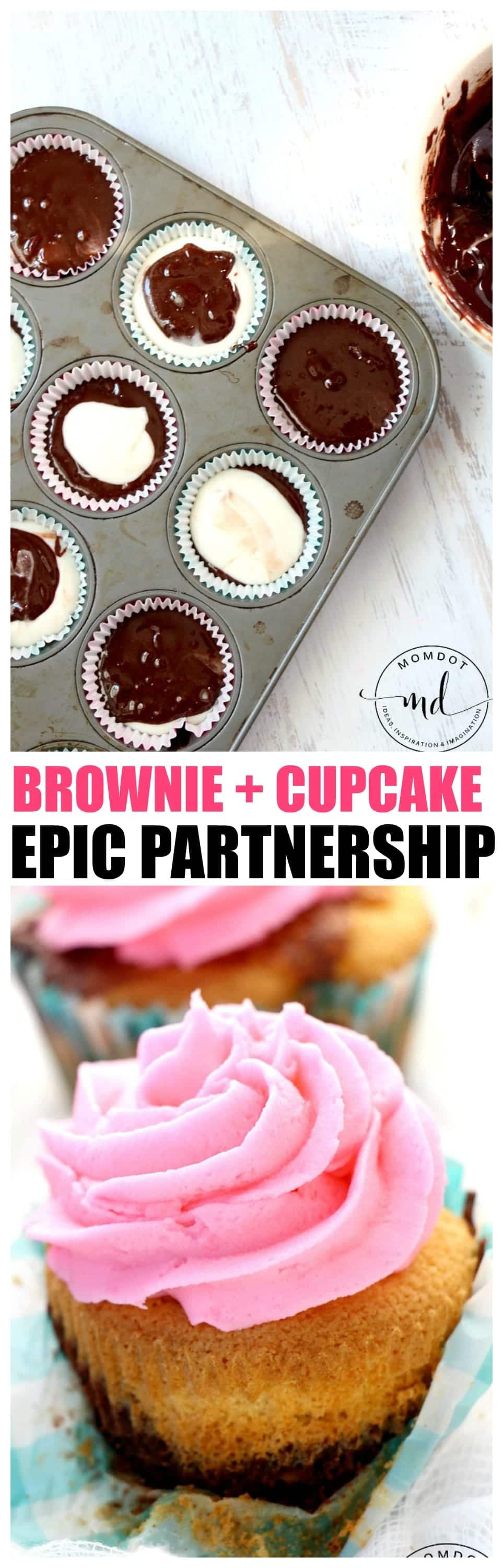 Brownies + Cupcake Recipe, Skip Brookies, Combine Delicious Brownie batter and cupcake batter to create an EPIC partnership