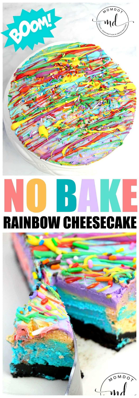 No Bake Rainbow Cheesecake : Easy No Bake Cheesecake Dessert, simple and striking!