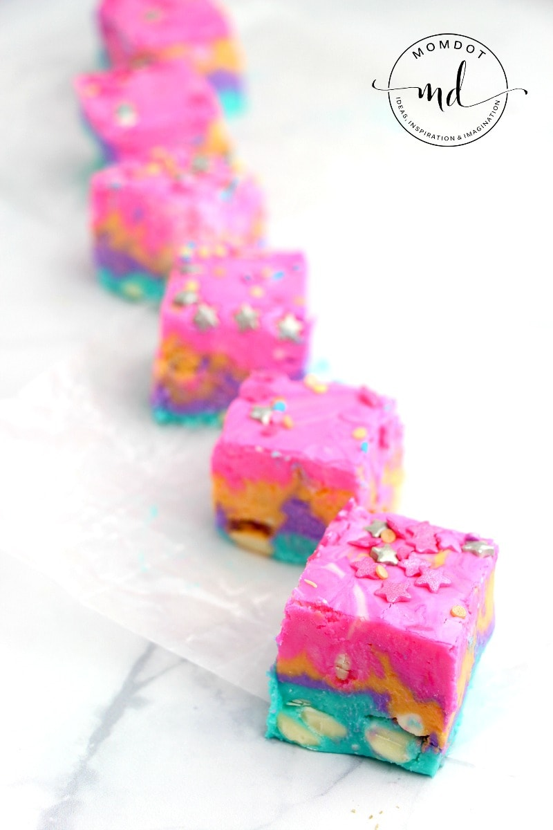Unicorn Fudge, a rainbow fudge recipe perfect for unicorns and humans both