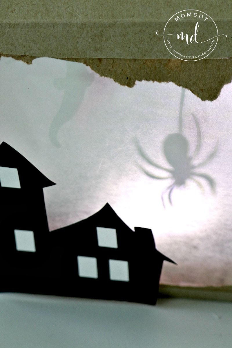 Haunted House Shadow Box DIY, How to make a cereal box haunted house with FREE printable spooks