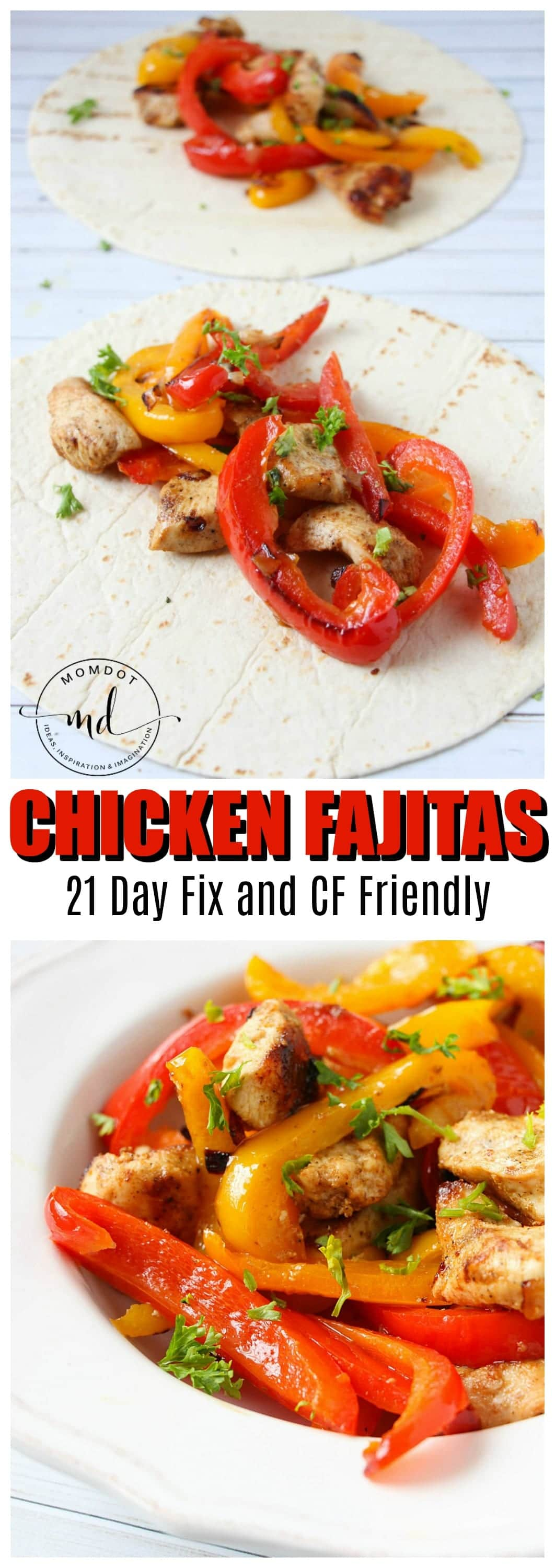 Simple chicken fajita recipe! In under 20 minutes, these perfectly seasoned chickens pair well with veggies for a dinner everyone will love. Without shell, carb free and 21 day fix approved