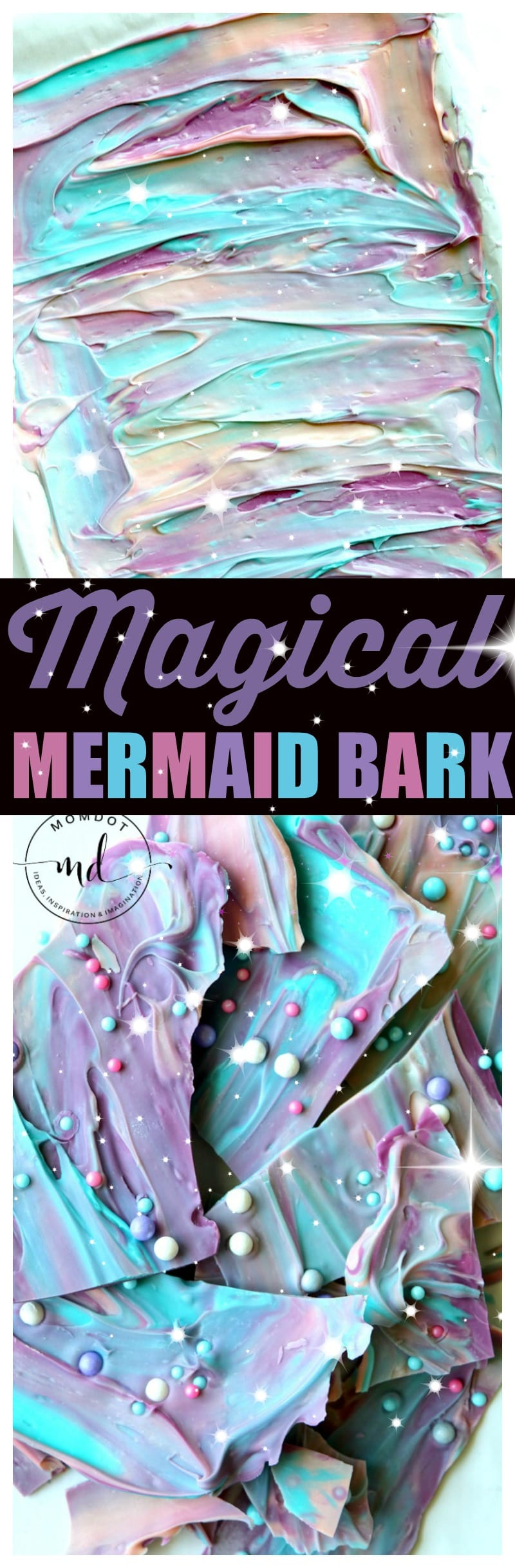 Mermaid Bark: 10 min magical chocolate dessert , make a splash at your next party