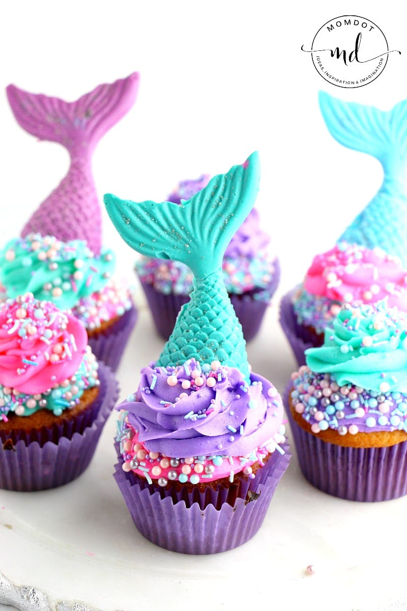 Mermaid Cupcake Recipe With Chocolate Tail Toppers