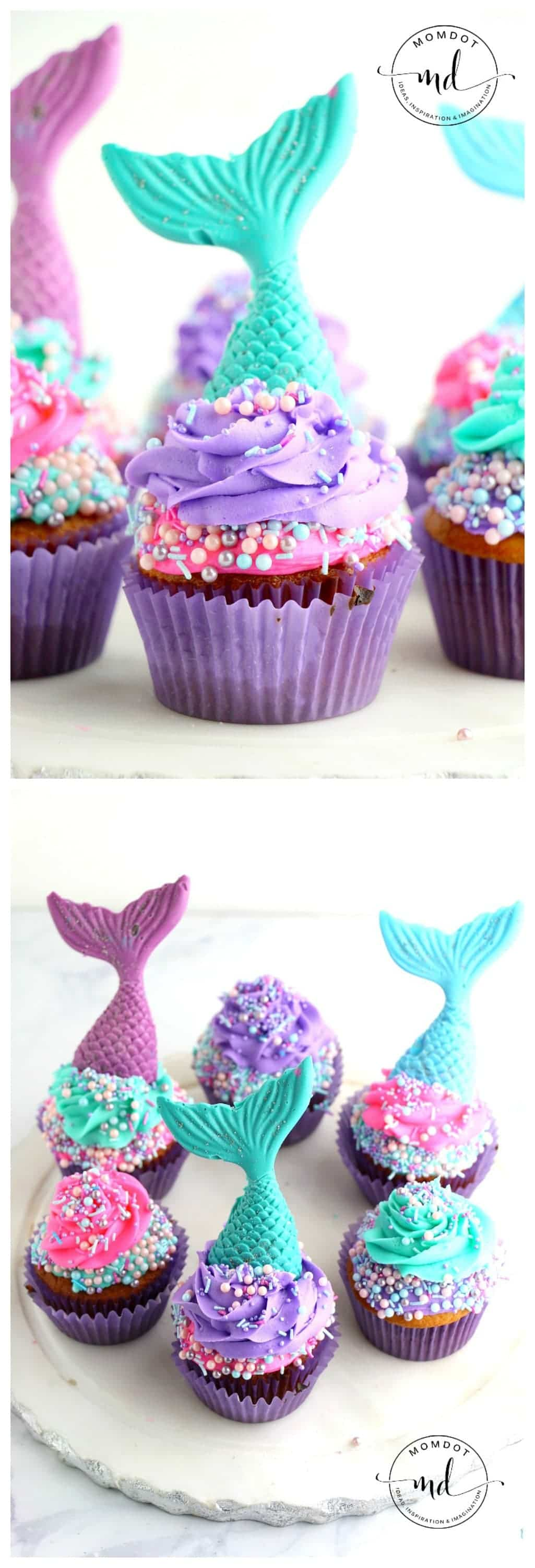 Mermaid Cupcake Recipe | Mermaid Cupcake Tail Topper Tutorial