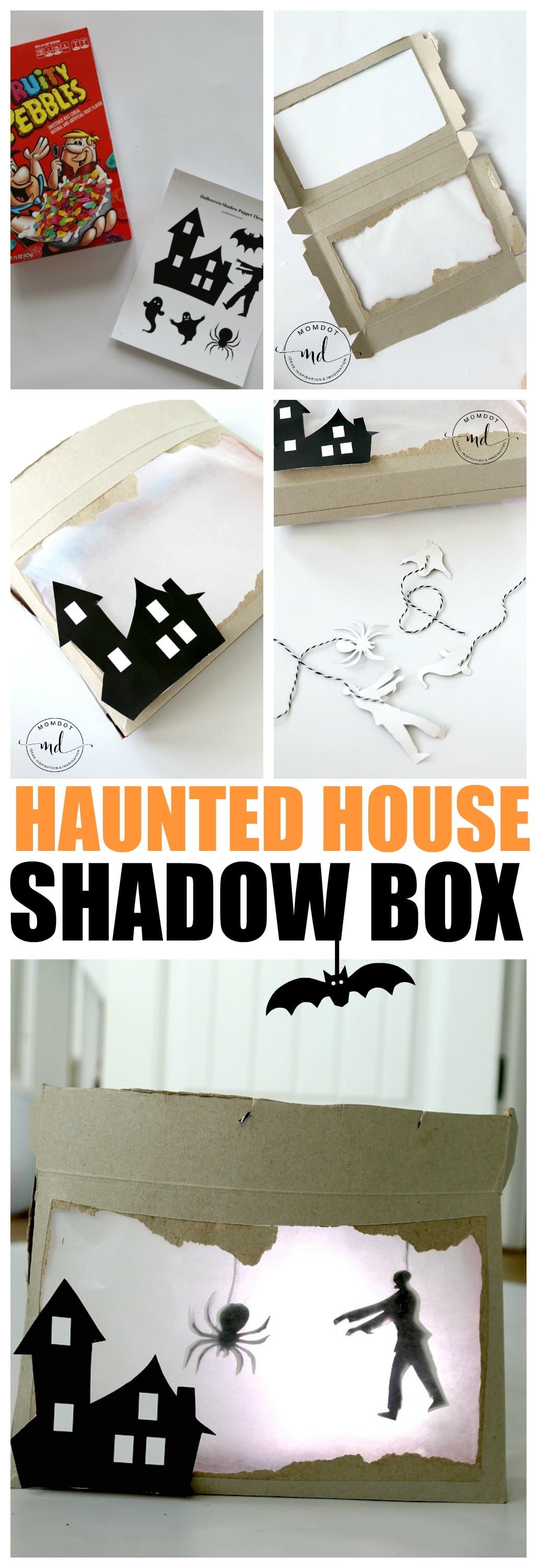 Haunted House Craft, Create a Shadow Box DIY, How to make a cereal box haunted house with FREE printable spooks