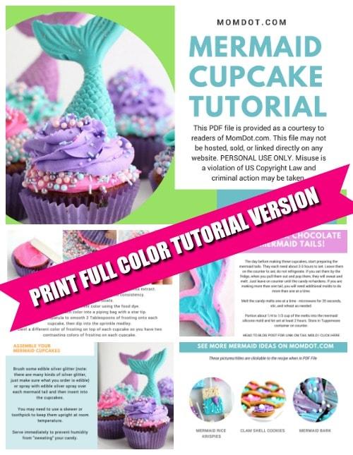 Mermaid Cupcake Tutorial PDF File plus full recipe instructions