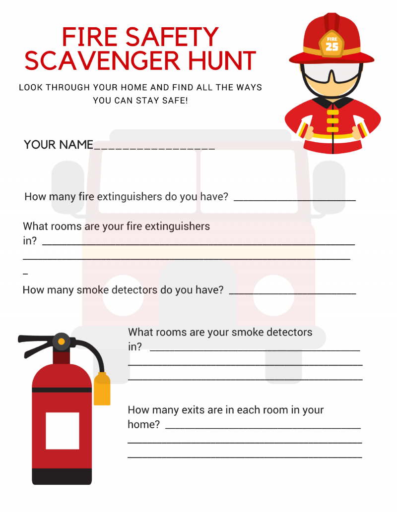 Fire safety scavenger hunt printable