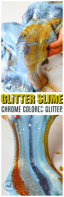 Make Glitter Slime Without Glitter Glue | Metallic Glitter Slime | Chrome Slime