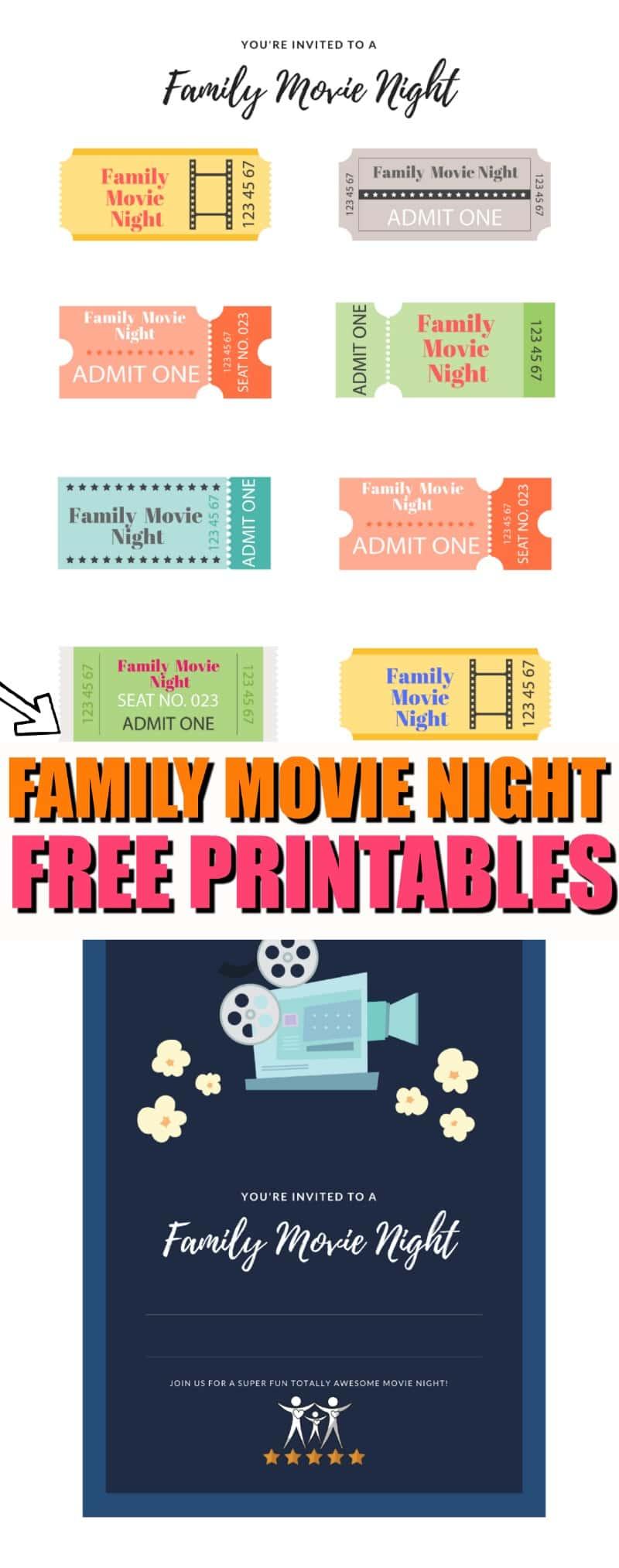 Family Movie Night Free Printables | Movie Night Tickets | Movie Night Invite