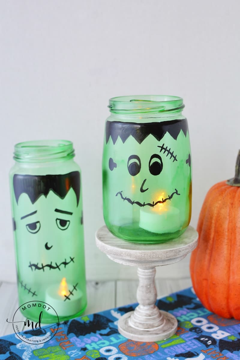 Frankenstein Luminaries | How to make a Halloween Luminary | Mason Jar DIY Halloween