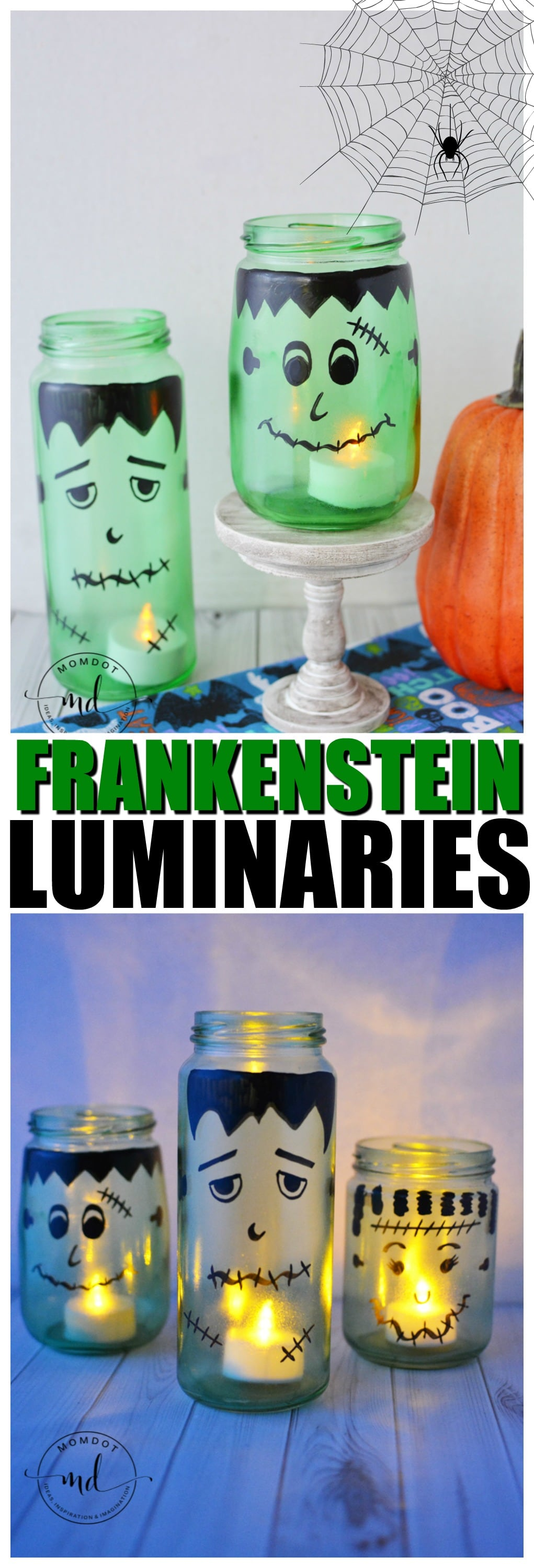 DIY Halloween Luminaries : Frankenstein Mason Jar Tutorial