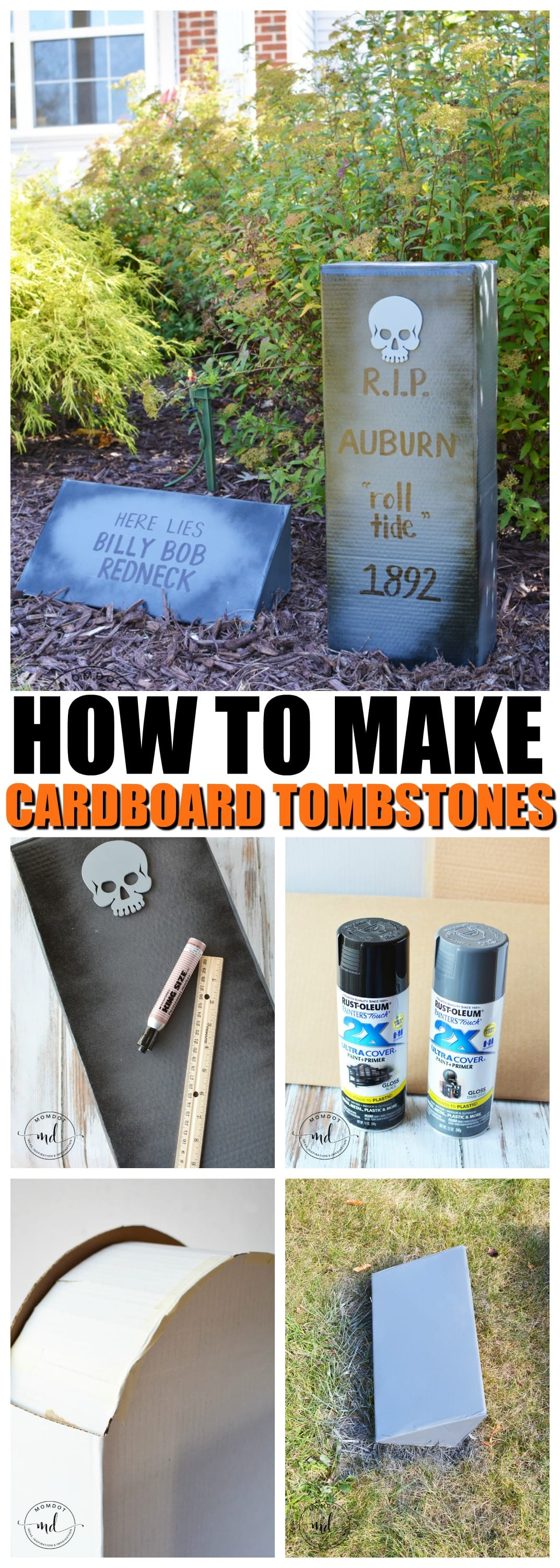 How to Make Cardboard Tombstones - MomDot