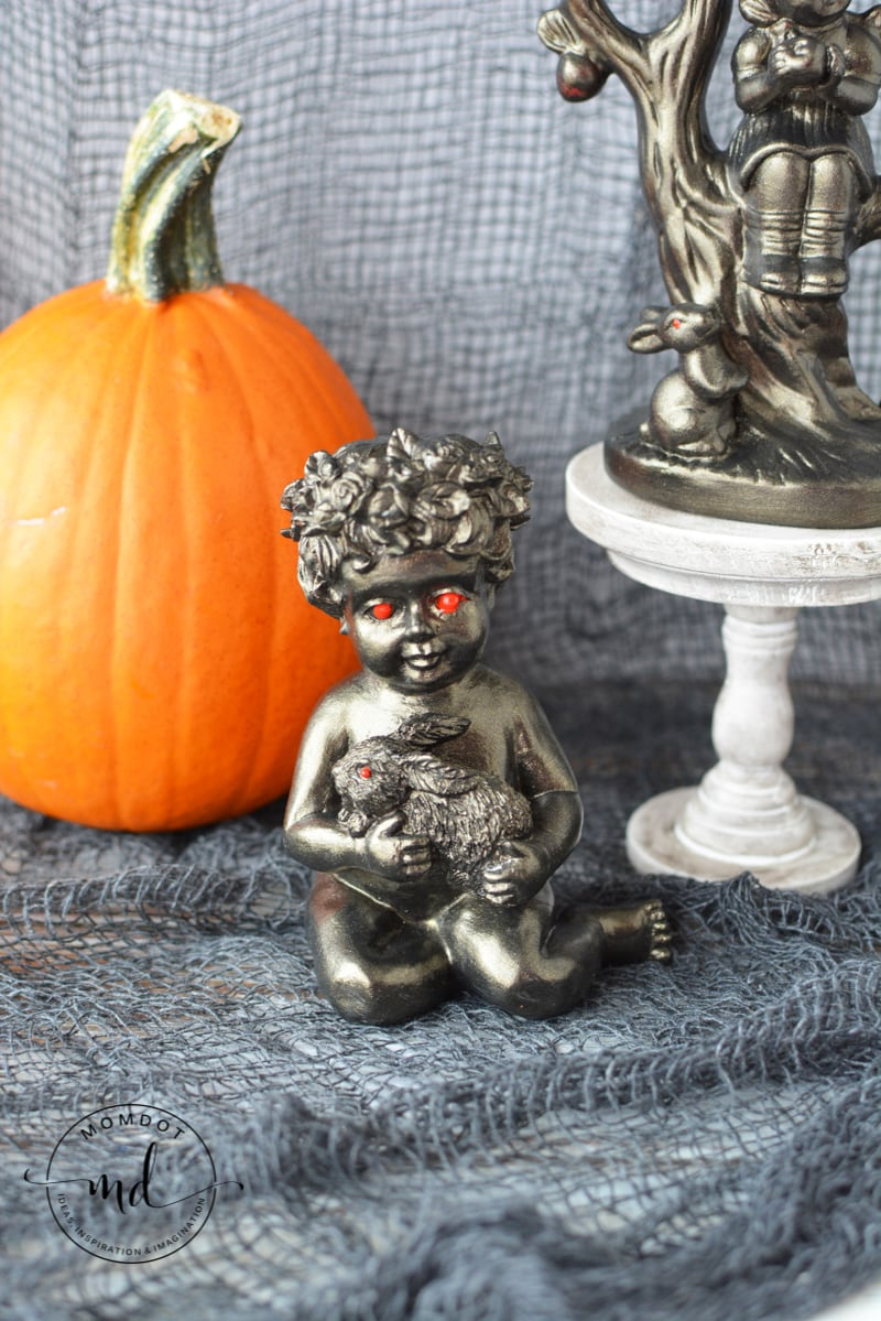How to make creepy Halloween Figurines, Dolls and Creatures using old knick knacks #halloween #crafting #halloweencrafts #howtomake #momdot #tutorial #DIY