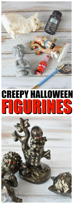 How to make creepy Halloween Figurines, Dolls and Creatures using old knick knacks #halloween #crafting #halloweencrafts #howtomake #momdot #tutorial #DIY