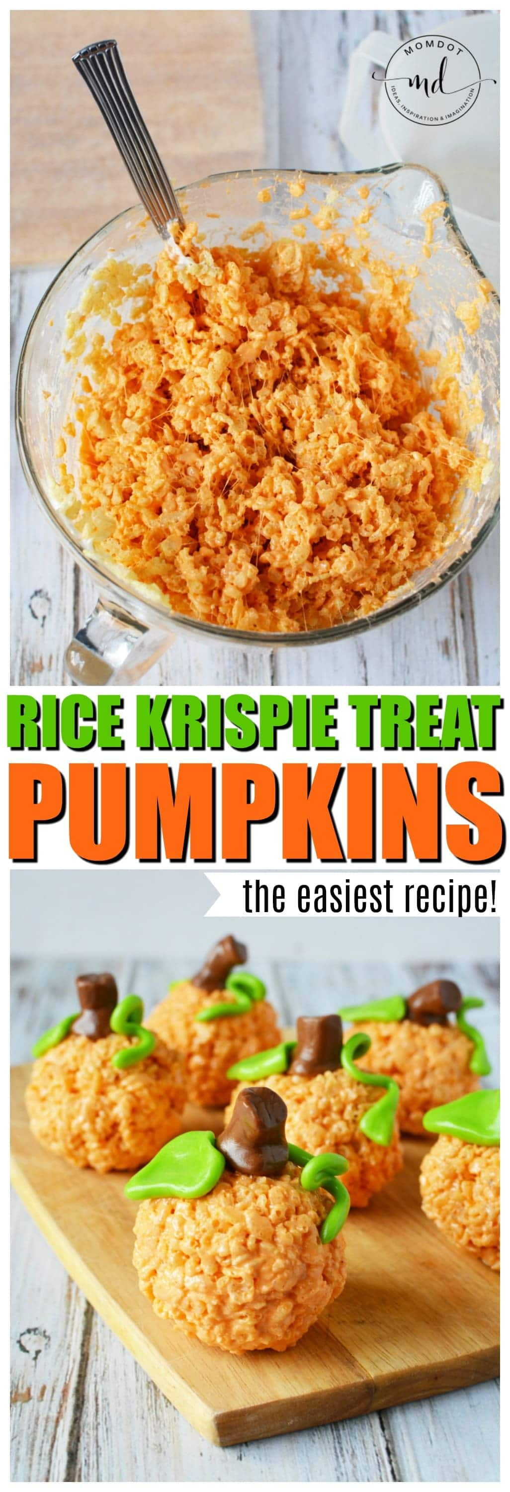 Pumpkin Rice Krispie Treats Recipe, How to make Pumpkin rice krispie treats with tootsie roll stump and leaves #recipe #ricekrispies #tutorial #thanksgiving #halloween #howto #DIY