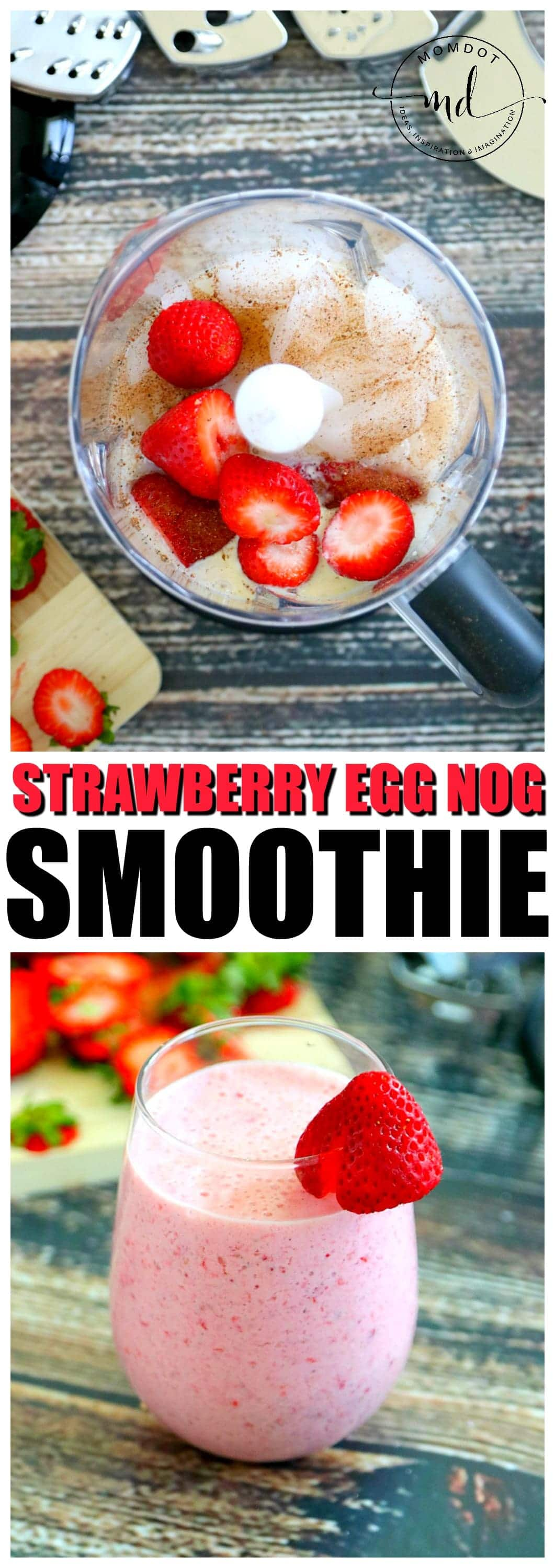 Strawberry Egg Nog Smoothie | Breakfast Smoothie | Strawberry Banana Smoothie