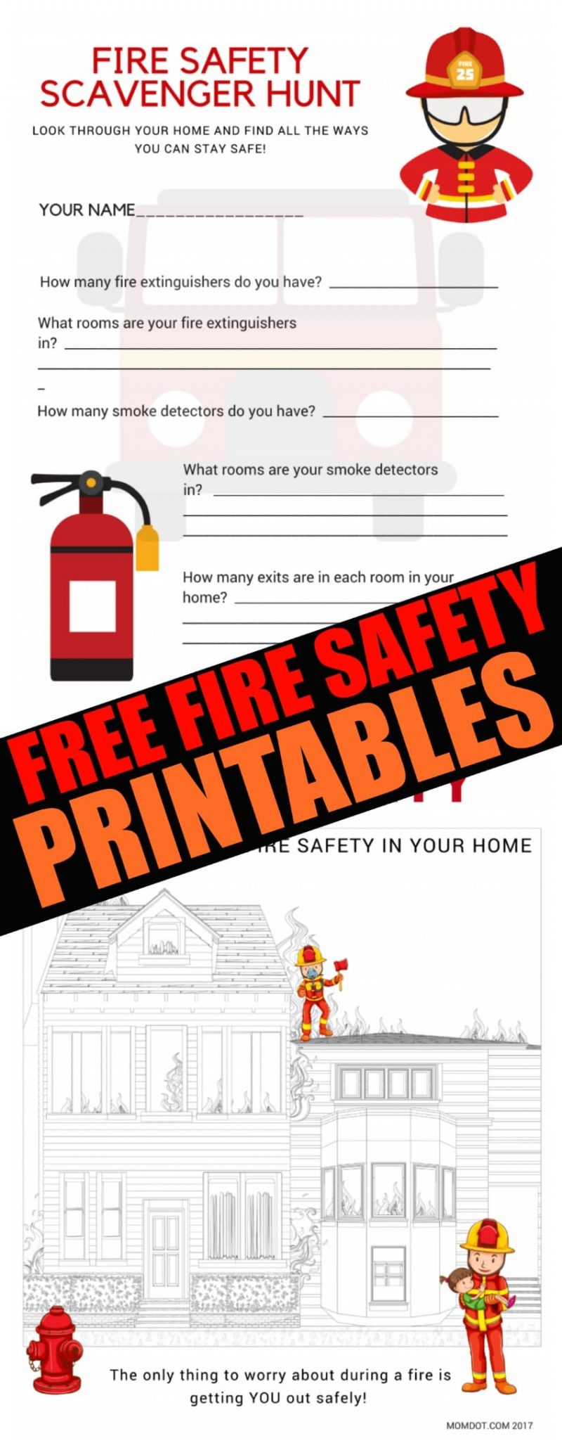 Free Fire Safety Printables, Home Fire Drill Safety Month, help your kids understand what to do in a fire! Download free