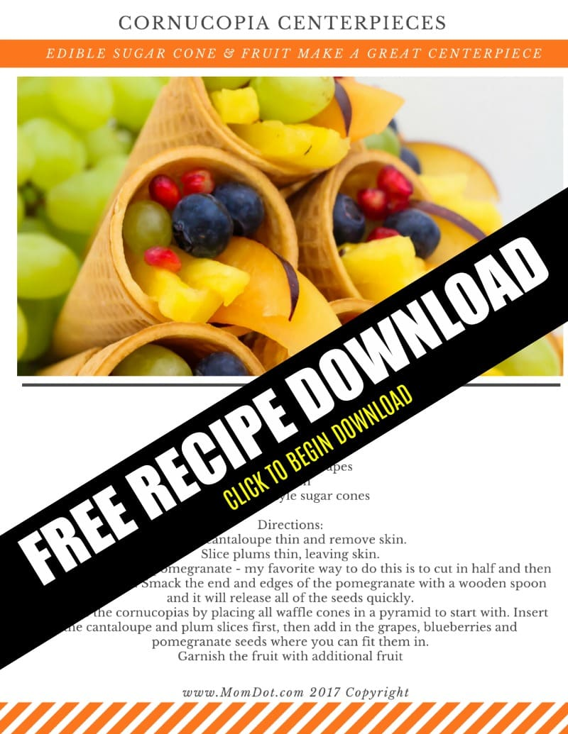 Cornucopia Centerpiece | Fruit Cornucopia with Sugar Cones | Kid Friendly Thanksgiving Idea #tutorial #recipe #thanksgivingrecipes #fruitideas #cornucopia #kidfriendly #crafting #holidays #fall