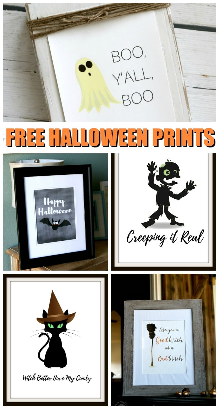 Free Halloween Printables, 6 Halloween printables perfect for inexpensive holiday decor, fits 8 x10 frames for instant Halloween fun