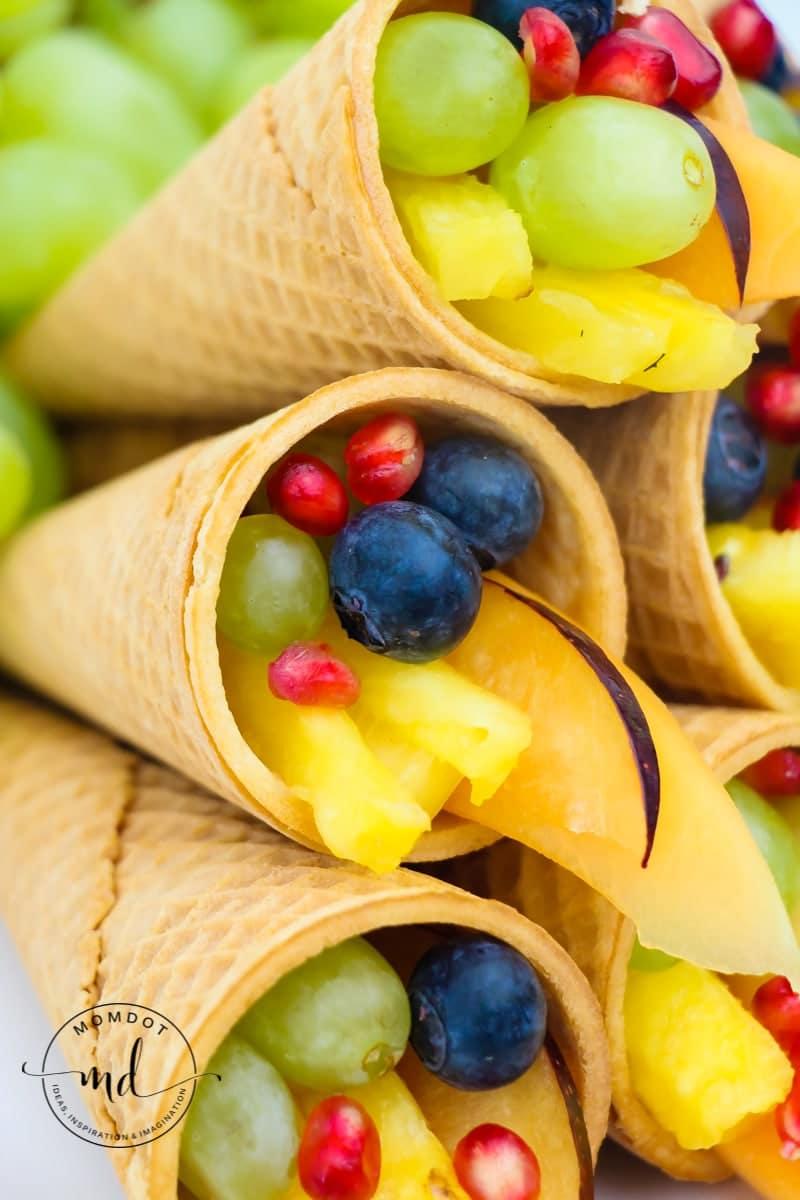 Cornucopia Centerpiece Fruit And Sugar Cones