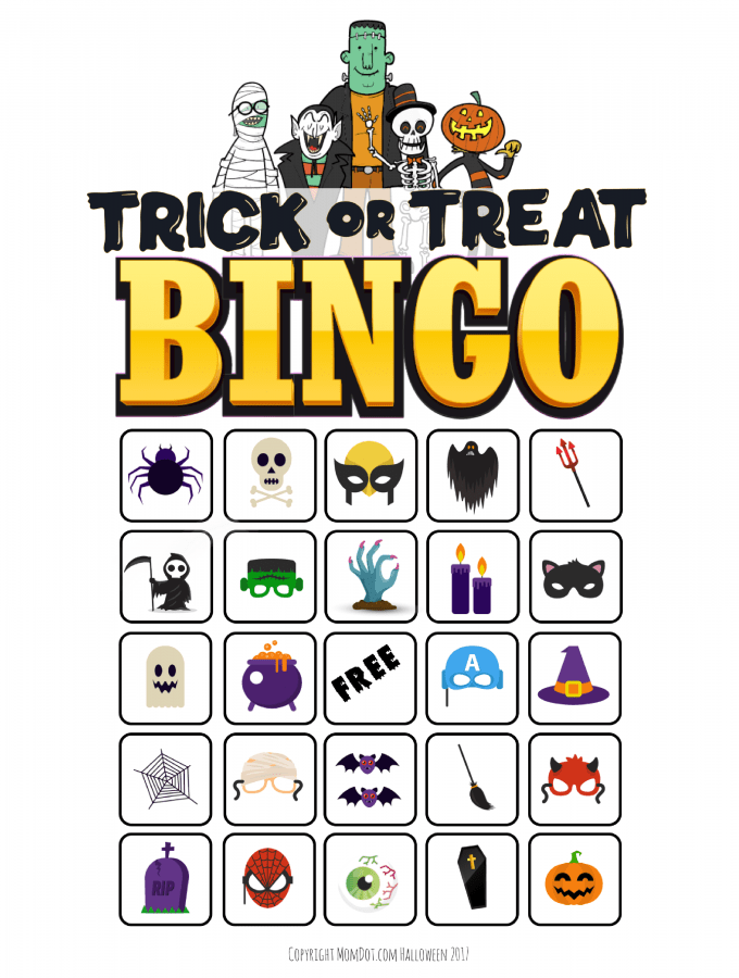 Halloween Bingo | Free Printable | Trick or Treat Halloween Bingo #halloween #freeprintable #momdot