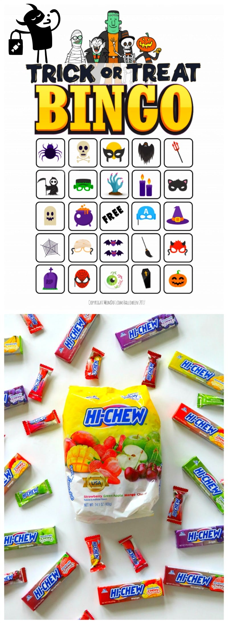 Trick or Treat BINGO Free Download, Find all the ghosts and ghoulies, win the candy! Super fun trick or treat game #halloween