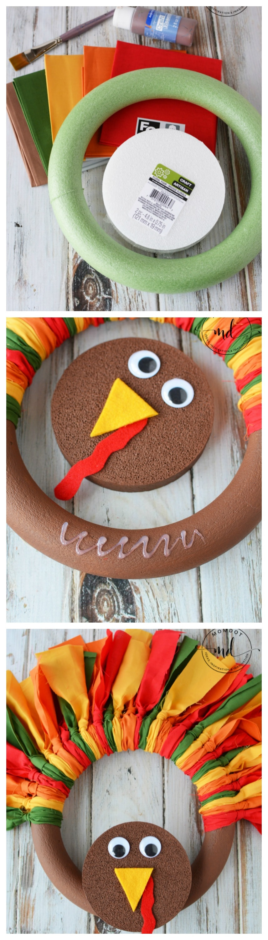 Turkey Wreath : How to make a Fabric Turkey Wreath with Slip Knots (not tulle) that is colorful and gorgeous for fall decorations, step by step tutorial