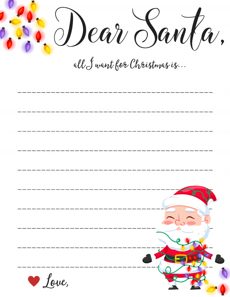 Dear santa writing paper